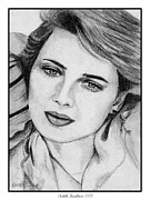 Grey Drawings Framed Prints - Isabella Rossellini in 1983 Framed Print by J McCombie