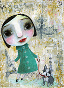 Shirley Mixed Media - Isabelle and her dog by Shirley Dawson