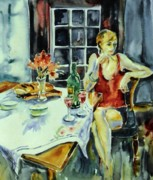 Parisienne Painting Prints - Isabelle from Paris -    Print by Trudi Doyle
