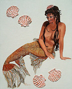 Mermaid Paintings - Isabelle Mermaid by Debbie Chamberlin