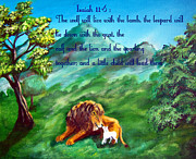 Lion And Lamb Posters - Isaiah 11-6 Peace Poster by Gloria Koch