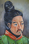 Green Jacket Prints - Isamu  Courageous Warrior Print by Cheryl Young