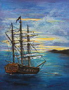 Pirate Ships Painting Prints - Isla Vaca at Sunset Print by Susi LaForsch