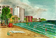 Puerto Rico Painting Metal Prints - Isla Verde Beach San Juan Puerto Rico Metal Print by Frank Hunter