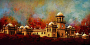University Buildings Drawings Prints - Islamia College Lahore Print by Catf