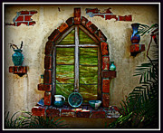 Painted Glass Posters - Islamorada Window Poster by Suzanne Stout