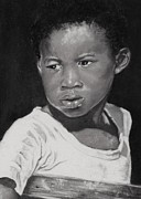 Faces Pastels - Island Boy Monochrome by John Clark