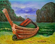 Louise Burkhardt Painting Metal Prints - Island Canoe Metal Print by Louise Burkhardt