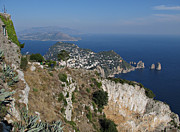 Kiril Stanchev Posters - Island Capri view from the highest point Monte Solaro Poster by Kiril Stanchev