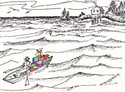 Row Boat Drawings Prints - Island Christmas In Coastal Maine Print by Robert Parsons