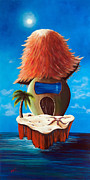 Beach Hut Paintings - Island Cottage by Shawna Erback by Shawna Erback