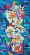 Silk Paintings - Island Flowers - Frangipani by Maria Rova