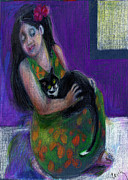 Island Girl And Cat Print by Cecily Mitchell