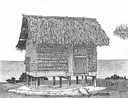 Shack Drawings - Island House 11 by Lew Davis