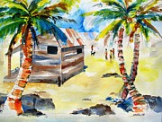 Dog Play Beach Paintings - Island Life Children Playing by Carlin Blahnik