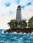 Staircase Painting Originals - Island Lighthouse by Barbara Griffin