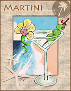Tropical Art Pastels Posters - Island Martini Poster by William Depaula