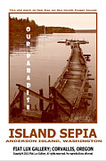 South Puget Sound Posters - Island Sepia Poster by Mike Moore FIAT LUX