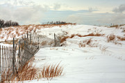 Sand Fences Acrylic Prints - Island Snow Acrylic Print by JC Findley