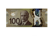 Banknote Prints - Isolated 100 Canadian dollar banknote. Print by Fernando Barozza