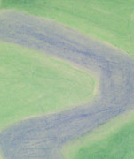 Aerial Pastels Posters - Isolated River--Aerial View Poster by Judith Moore