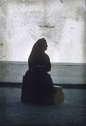 Black Clothes Prints - Isolated woman Print by Bernard Jaubert