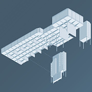 Science Fiction Illustration Prints - Isometric Council Chambers Print by Peter Cassidy