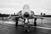 Manhatten Prints - Israel Aircraft Industries Kfir on disply on the flight deck at the Intrepid Sea Air Space Museum  Print by Joe Fox