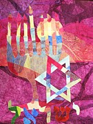 Menorah Mixed Media Prints - Israel Print by Diane  Miller
