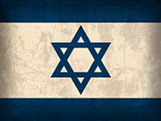 Flag Framed Prints - Israel Flag Vintage Distressed Finish Framed Print by Design Turnpike