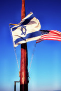 Sea Of Galilee Prints - Israeli Flag and US Flag Print by Thomas R Fletcher