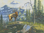 Elk Paintings - Issuing the Call by Jeff Brimley