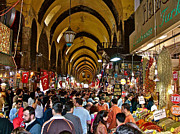 Istanbul Digital Art Posters - Istanbul Spice Market on Saturday-Turkey Poster by Ruth Hager