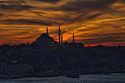 Setting Sun Framed Prints - Istanbul Sunset - A Call to Prayer Framed Print by David Smith