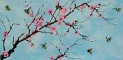 Cherry Blossoms Painting Prints - It Bee Spring Print by Carol Avants