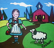Nursery Rhyme Painting Prints - It followed her to school one day Print by Joyce Gebauer