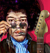 Rock Star Prints Framed Prints - It Got To Be The Pick - Jimi Hendrix Series Framed Print by Reggie Duffie