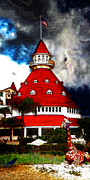 The American Dream Digital Art Posters - It Happened One Night At The Old Del Coronado 5D24270 Stylized Long Poster by Wingsdomain Art and Photography