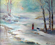 Lady In Lake Painting Posters - It is Snowing Poster by Gulsen Beasley