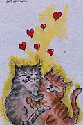 Cats Framed Prints - It Must Be Love Framed Print by Angel  Tarantella