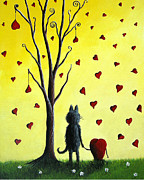 Surreal Cat Landscape Posters - It Must Be Love by Shawna Erback Poster by Shawna Erback