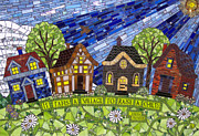 Village Glass Art Prints - It Takes A Village Print by Barbara Benson Keith