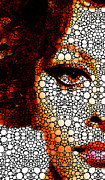 Actress Mixed Media Prints - Italian Beauty - Portrait Stone Rockd Art By Sharon Cummings Print by Sharon Cummings