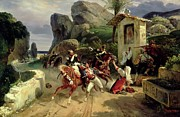 Italian Landscape Paintings - Italian Brigands Surprised by Papal Troops by Emile Jean Horace Vernet