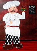 Bistro Paintings - Italian Chef 2 by JoNeL  Art