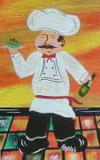 Bistro Paintings - Italian Chef by JoNeL  Art