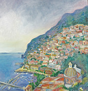 Italian Coast At Dusk Print by Barbara Anna Knauf