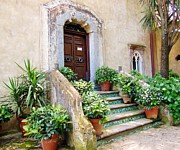 Plants Originals - Italian Door and Staircase in Ravello by Marilyn Dunlap