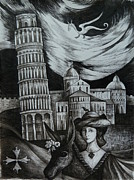 Middle Ages Drawings Prints - Italian Fantasies. Pisa Print by Anna  Duyunova
