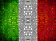 National Symbol Prints - Italian Flag - Italy Stone Rockd Art By Sharon Cummings Italia Print by Sharon Cummings